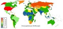 Количество заключенных, находящихся в тюрьмах по странам мира, 2007—2008 год